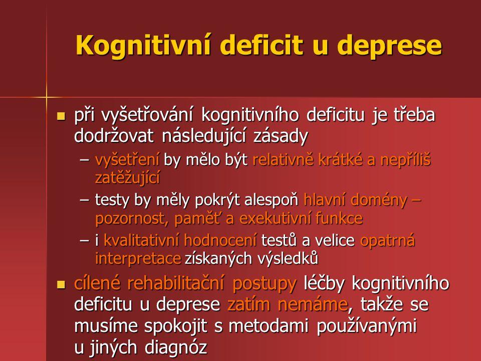 Kognitivní deficit u deprese
