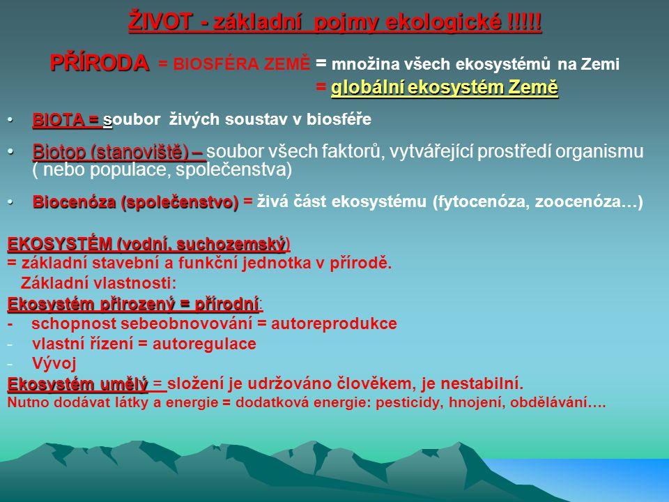 ŽIVOT - základní pojmy ekologické !!!!!
