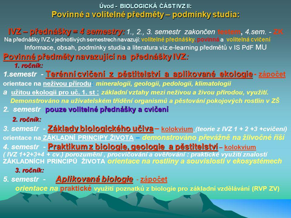 Povinné předměty navazující na přednášky IVZ: