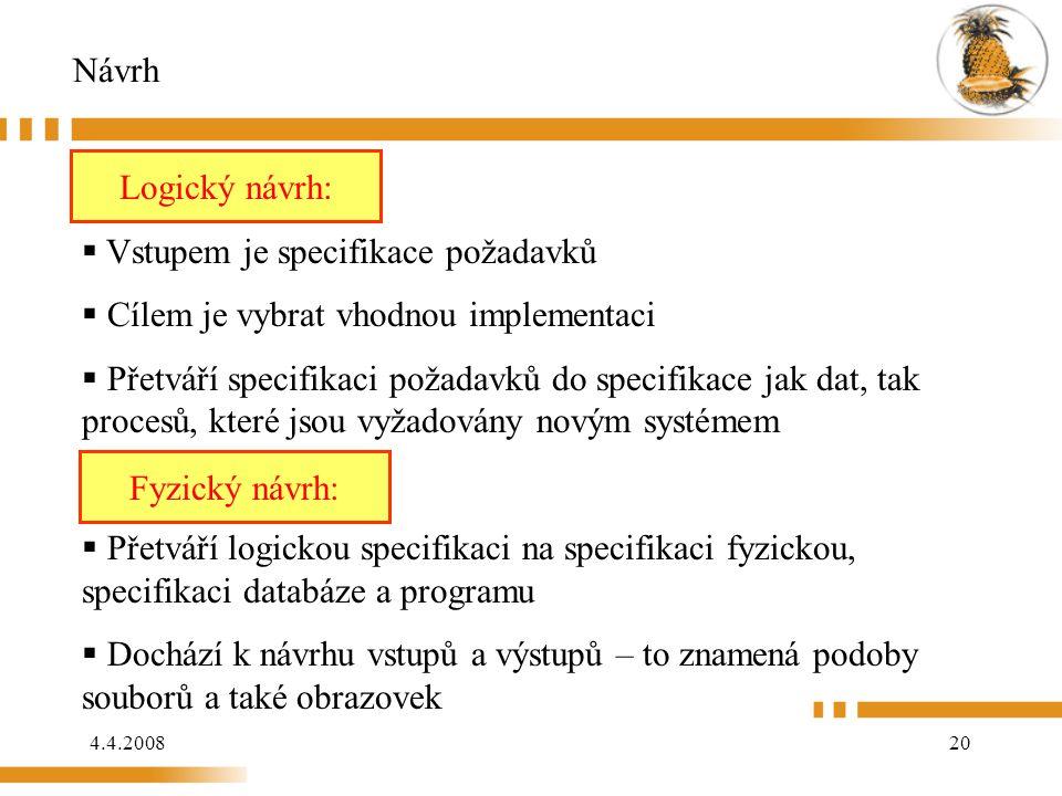 Návrh Logický návrh: Logický návrh: Vstupem je specifikace požadavků. Cílem je vybrat vhodnou implementaci.
