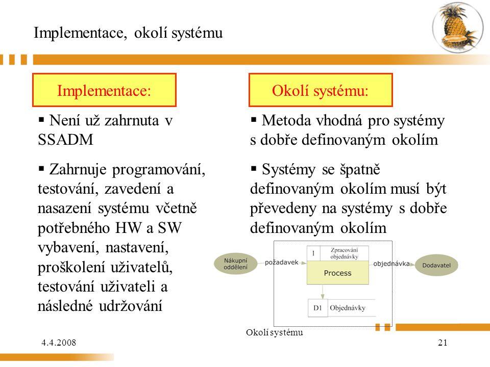 Implementace, okolí systému