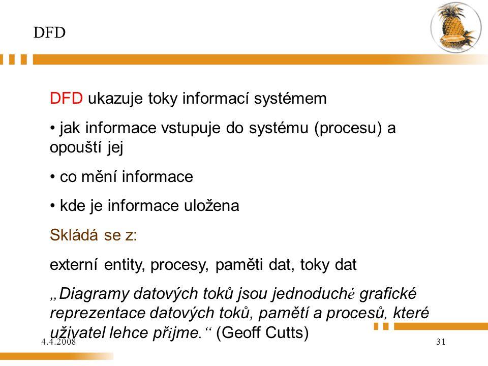 DFD DFD ukazuje toky informací systémem. jak informace vstupuje do systému (procesu) a opouští jej.