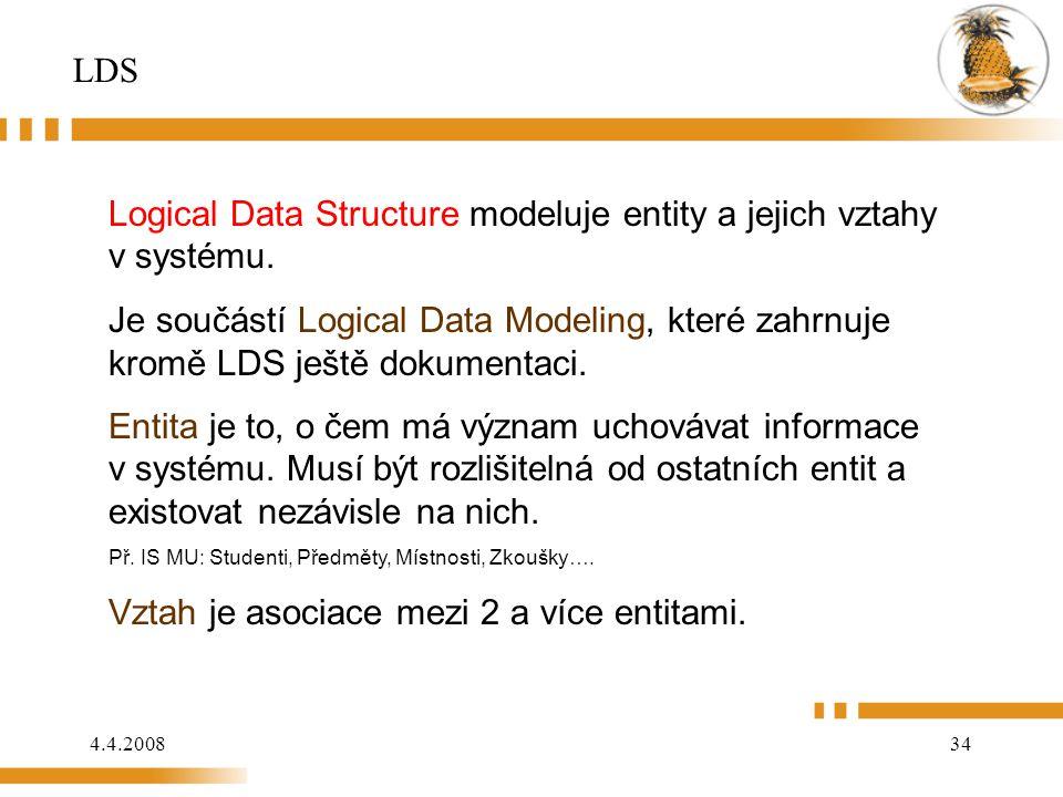 Logical Data Structure modeluje entity a jejich vztahy v systému.