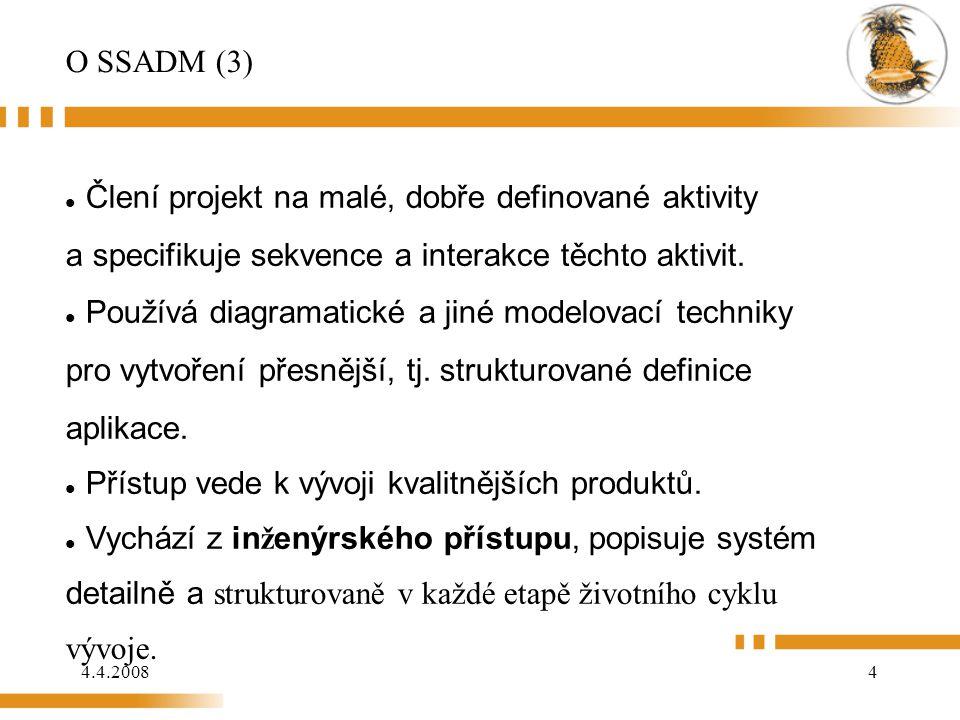 O SSADM (3) Člení projekt na malé, dobře definované aktivity a specifikuje sekvence a interakce těchto aktivit.
