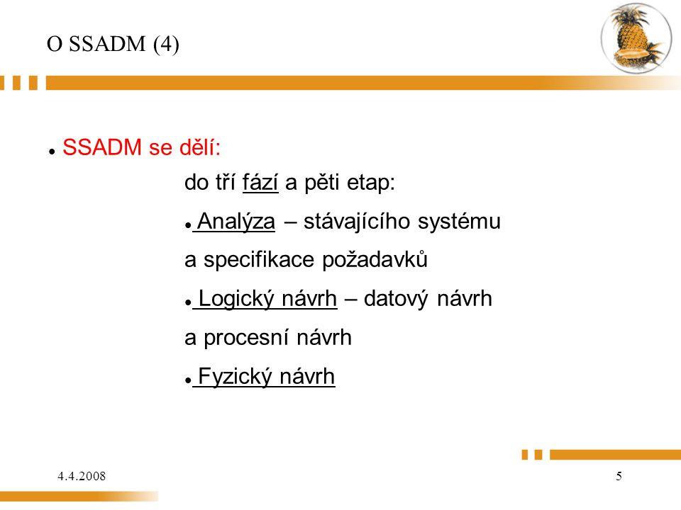 O SSADM (4) SSADM se dělí: do tří fází a pěti etap: Analýza – stávajícího systému a specifikace požadavků.