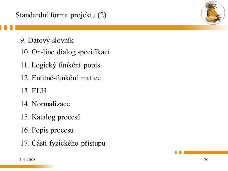Standardní forma projektu (2)