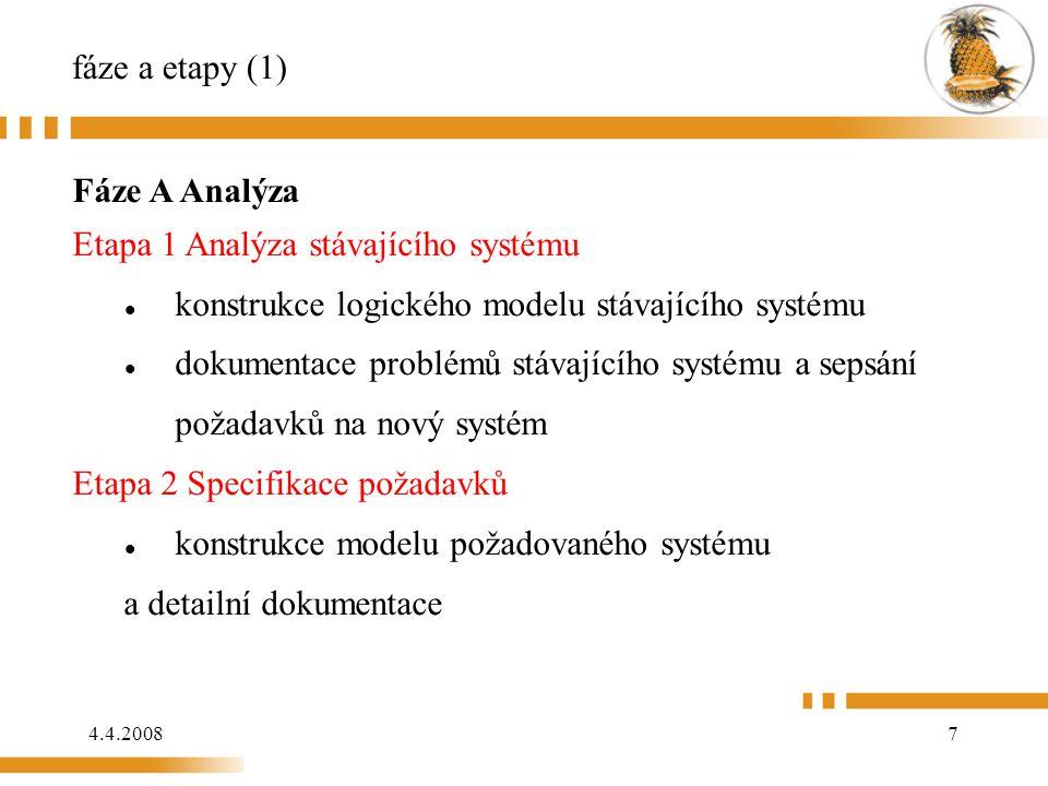 fáze a etapy (1) Fáze A Analýza. Etapa 1 Analýza stávajícího systému. konstrukce logického modelu stávajícího systému.