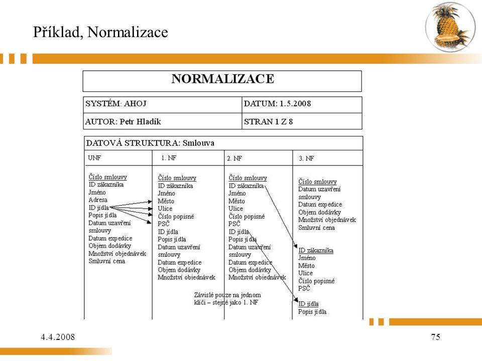 Příklad, Normalizace