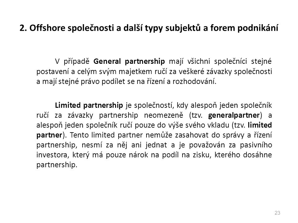 2. Offshore společnosti a další typy subjektů a forem podnikání
