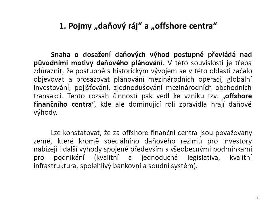 "1. Pojmy ""daňový ráj a ""offshore centra"