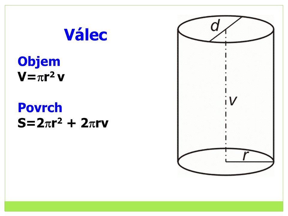 Válec Objem V=r2 v Povrch S=2r2 + 2rv