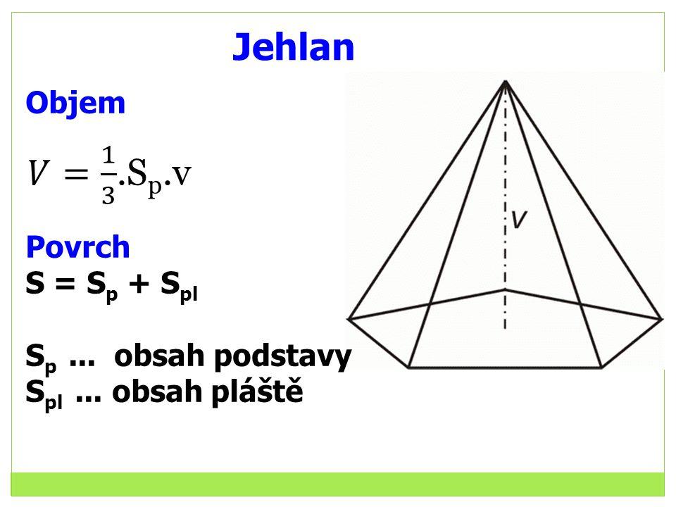 Jehlan 𝑉= 1 3 .Sp.v Objem Povrch S = Sp + Spl