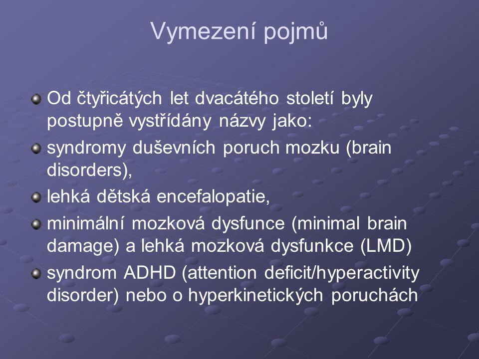 Vymezení pojmů Od čtyřicátých let dvacátého století byly postupně vystřídány názvy jako: syndromy duševních poruch mozku (brain disorders),