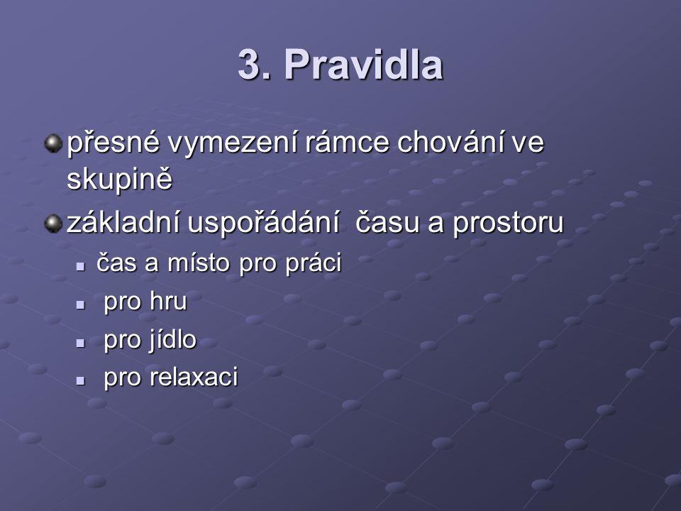3. Pravidla přesné vymezení rámce chování ve skupině