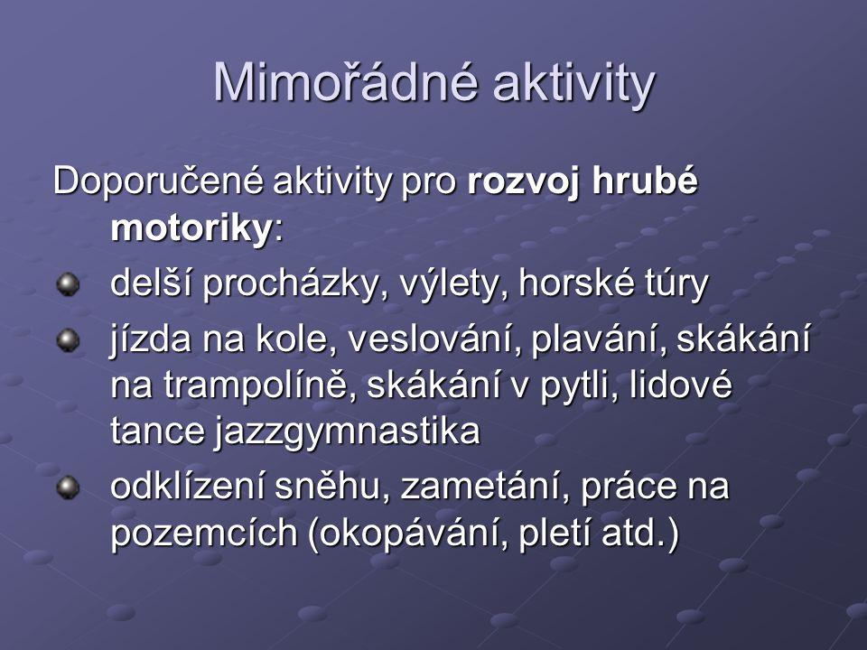 Mimořádné aktivity Doporučené aktivity pro rozvoj hrubé motoriky: