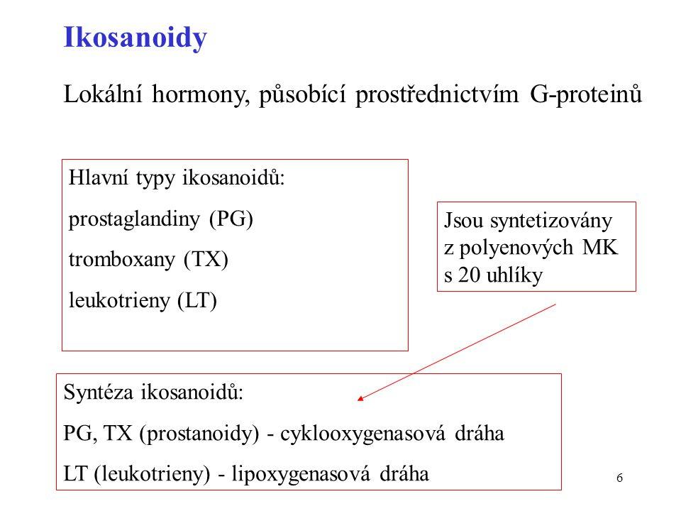 Ikosanoidy Lokální hormony, působící prostřednictvím G-proteinů