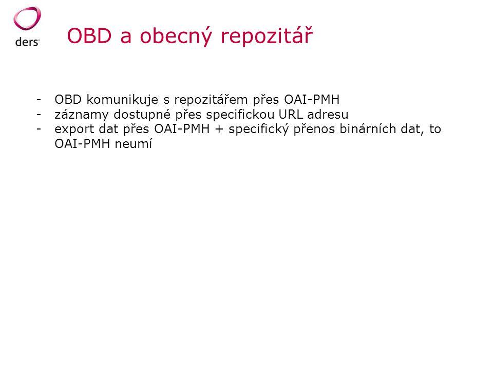OBD a obecný repozitář OBD komunikuje s repozitářem přes OAI-PMH