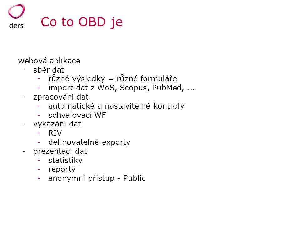 Co to OBD je webová aplikace sběr dat různé výsledky = různé formuláře