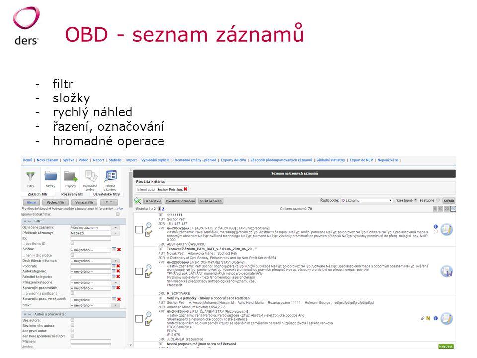 OBD - seznam záznamů filtr složky rychlý náhled řazení, označování