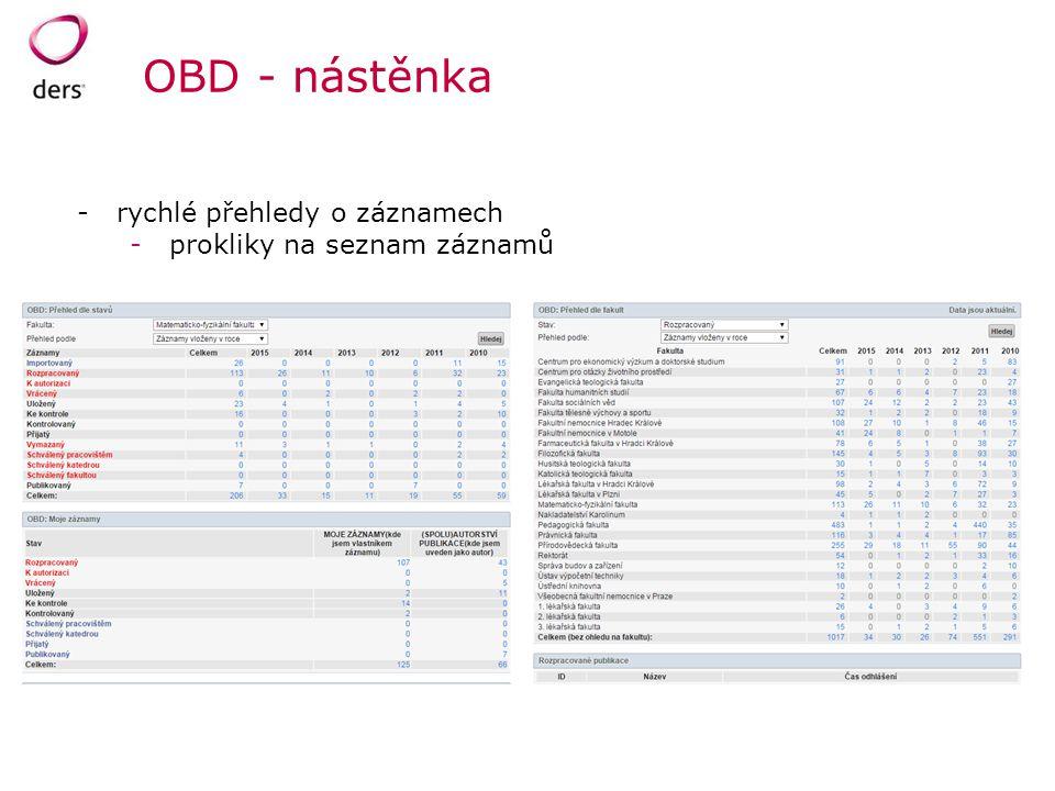 OBD - nástěnka rychlé přehledy o záznamech prokliky na seznam záznamů