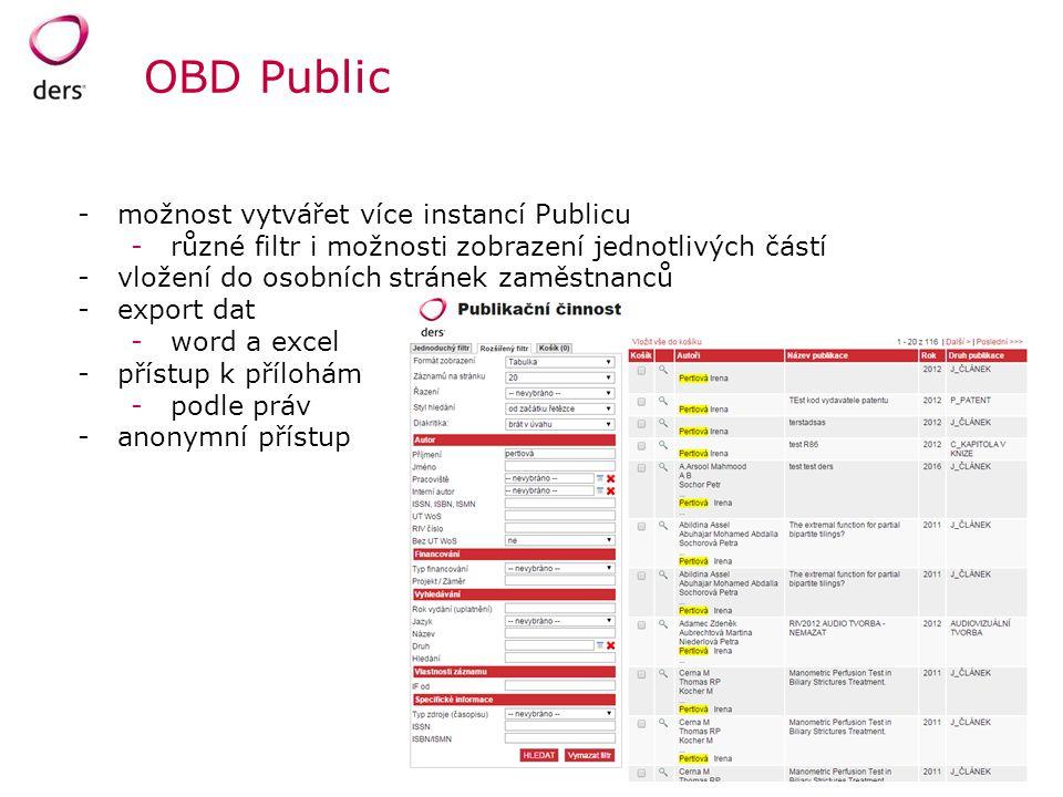 OBD Public možnost vytvářet více instancí Publicu