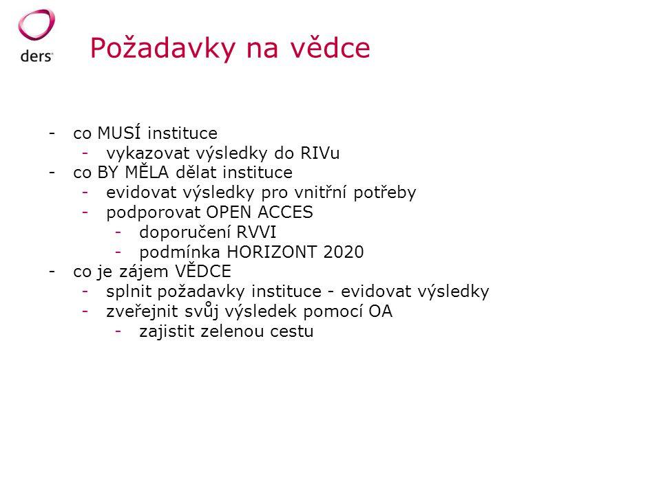 Požadavky na vědce co MUSÍ instituce vykazovat výsledky do RIVu