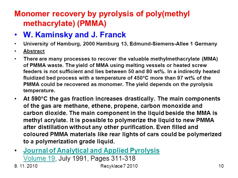 Monomer recovery by pyrolysis of poly(methyl methacrylate) (PMMA)