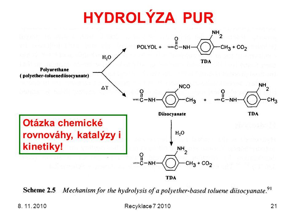HYDROLÝZA PUR Otázka chemické rovnováhy, katalýzy i kinetiky!