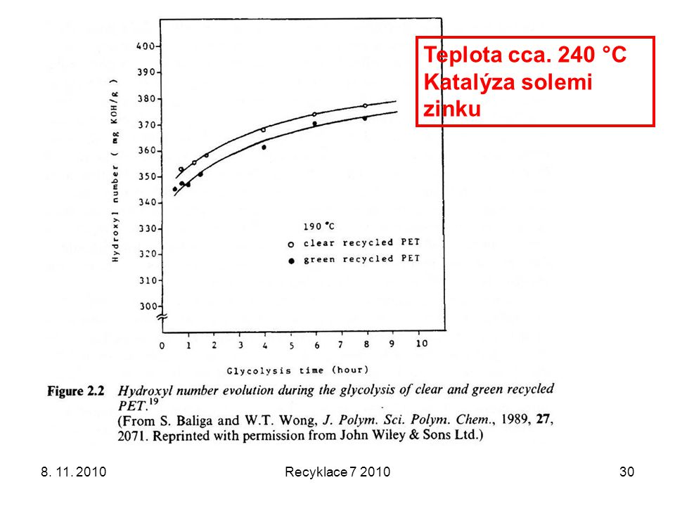 Teplota cca. 240 °C Katalýza solemi zinku 8. 11. 2010 Recyklace 7 2010