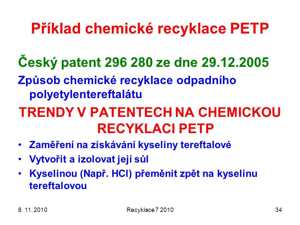 Příklad chemické recyklace PETP