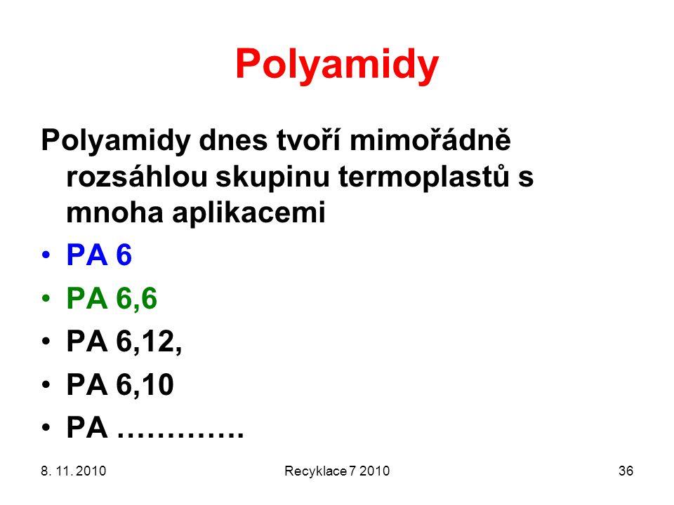 Polyamidy Polyamidy dnes tvoří mimořádně rozsáhlou skupinu termoplastů s mnoha aplikacemi. PA 6. PA 6,6.