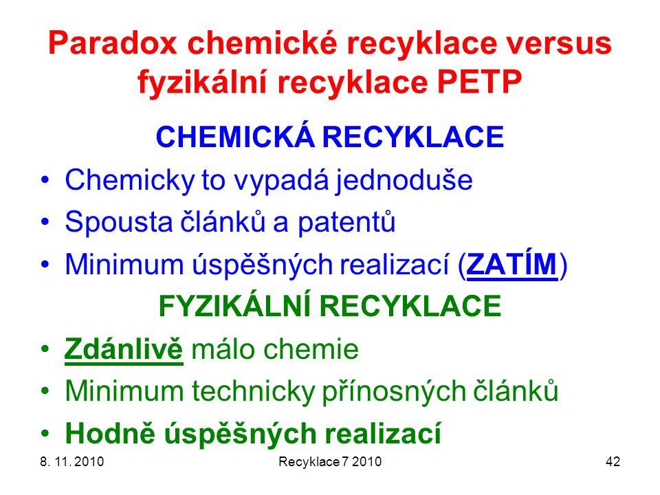 Paradox chemické recyklace versus fyzikální recyklace PETP