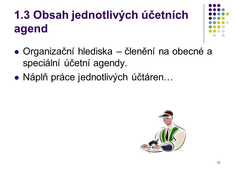 1.3 Obsah jednotlivých účetních agend