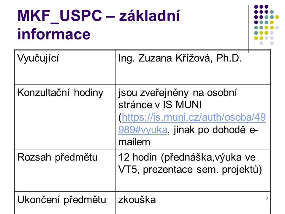 MKF_USPC – základní informace