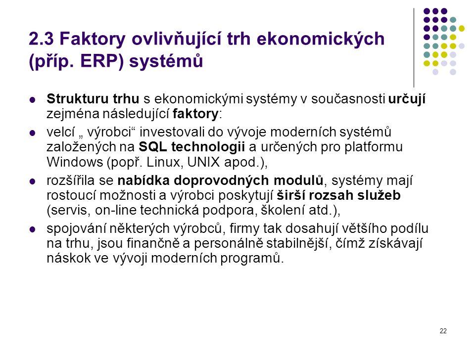 2.3 Faktory ovlivňující trh ekonomických (příp. ERP) systémů