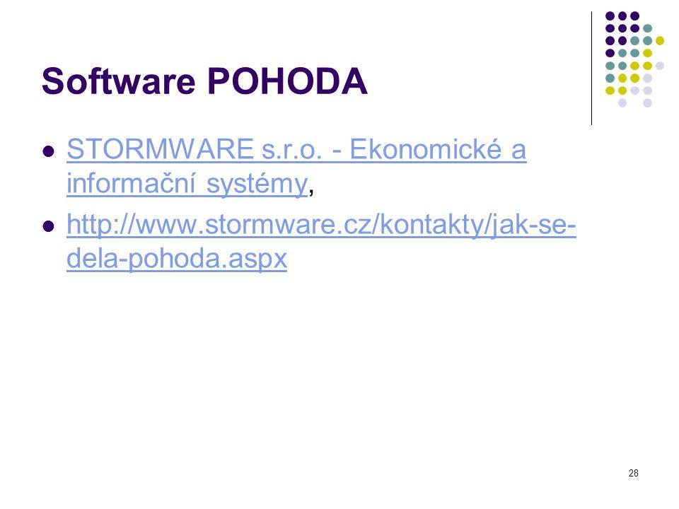 Software POHODA STORMWARE s.r.o. - Ekonomické a informační systémy,