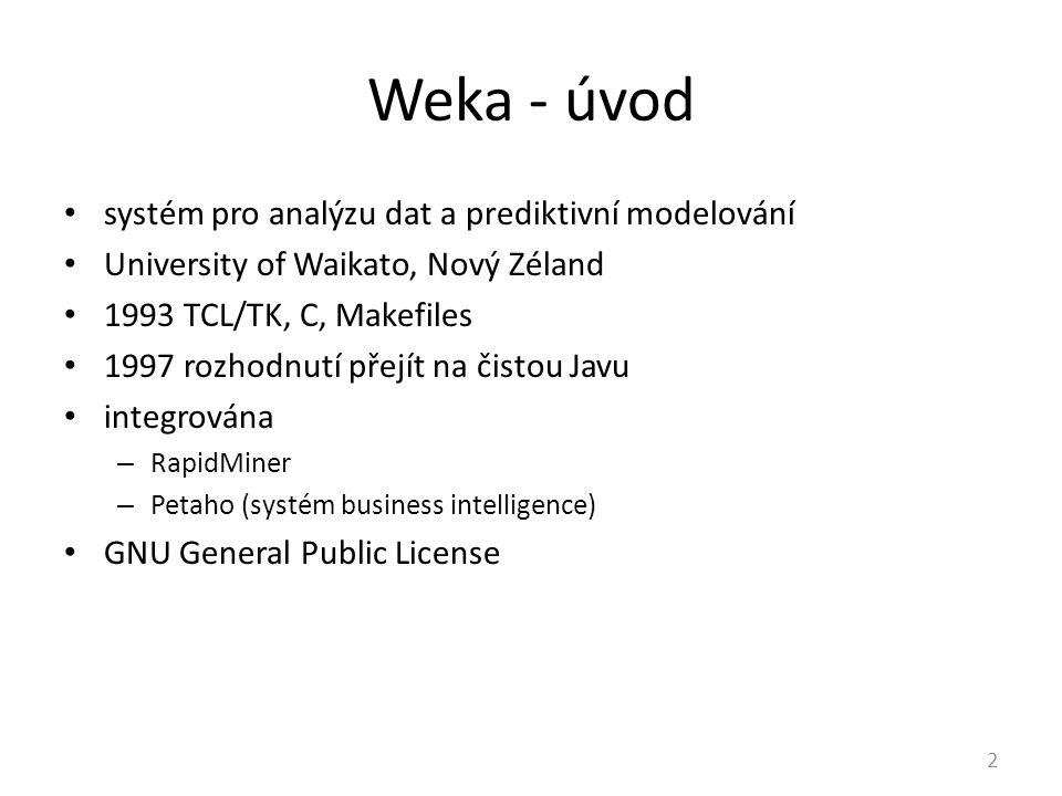 Weka - úvod systém pro analýzu dat a prediktivní modelování