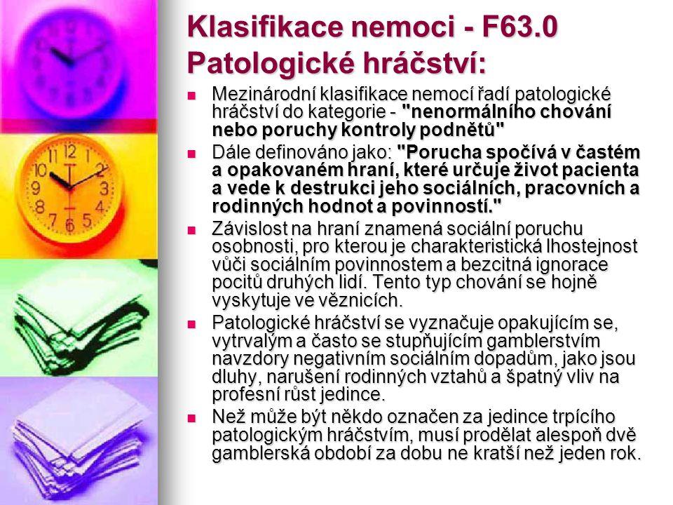 Klasifikace nemoci - F63.0 Patologické hráčství: