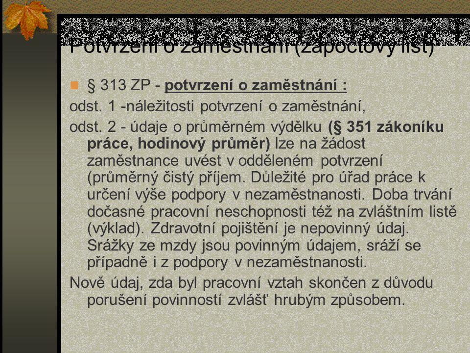 Potvrzení o zaměstnání (zápočtový list)