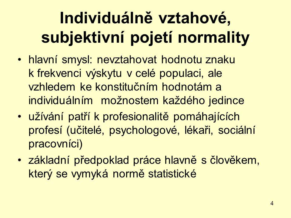 Individuálně vztahové, subjektivní pojetí normality