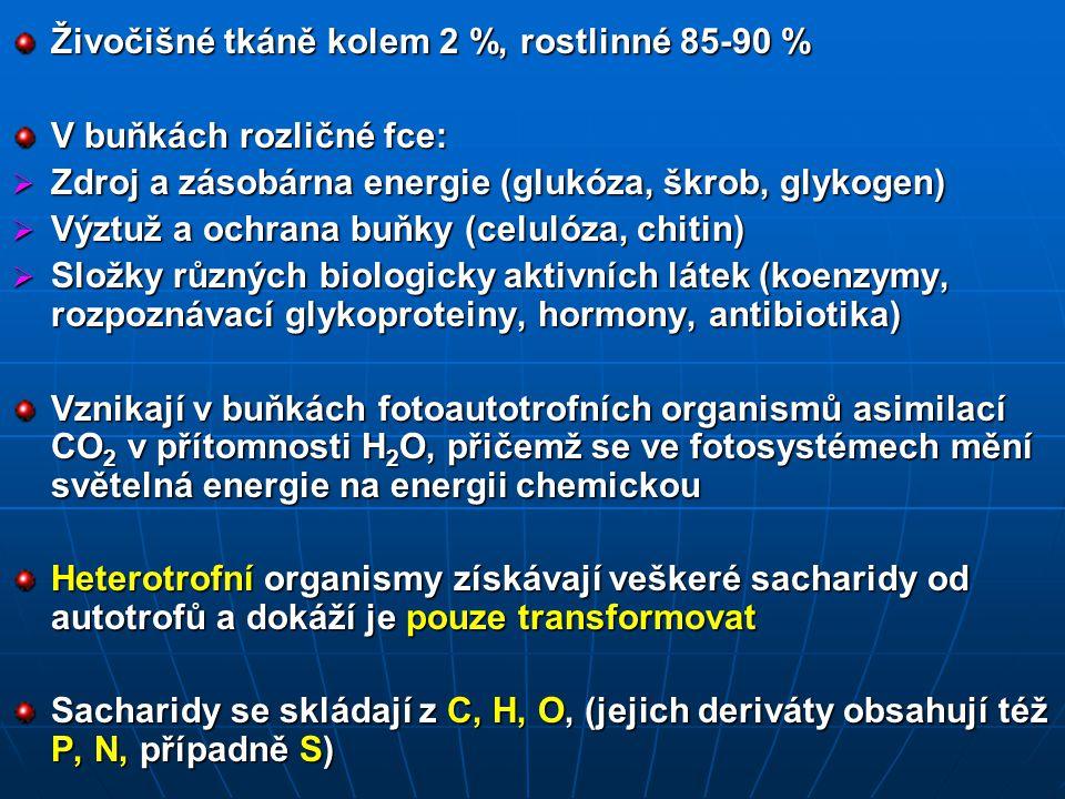 Živočišné tkáně kolem 2 %, rostlinné 85-90 %