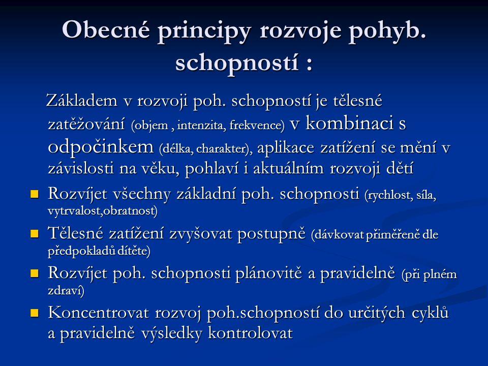 Obecné principy rozvoje pohyb. schopností :