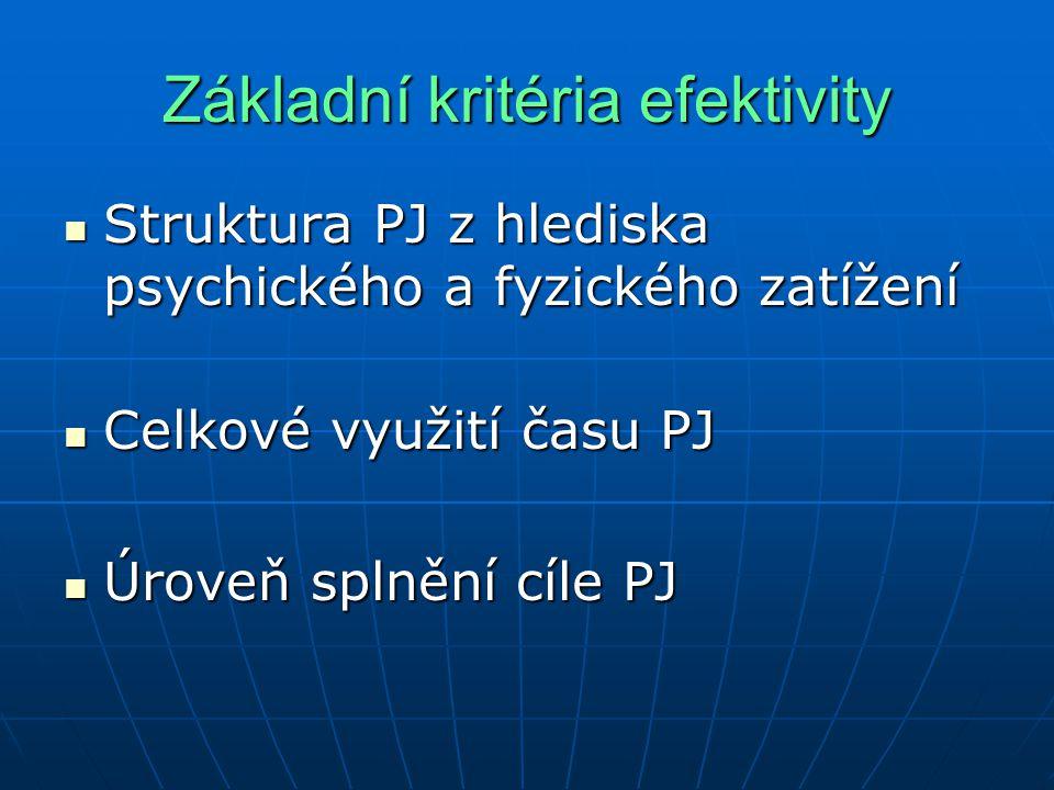 Základní kritéria efektivity
