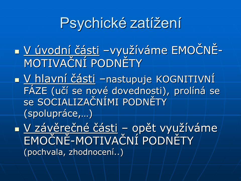 Psychické zatížení V úvodní části –využíváme EMOČNĚ-MOTIVAČNÍ PODNĚTY
