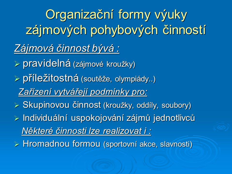 Organizační formy výuky zájmových pohybových činností