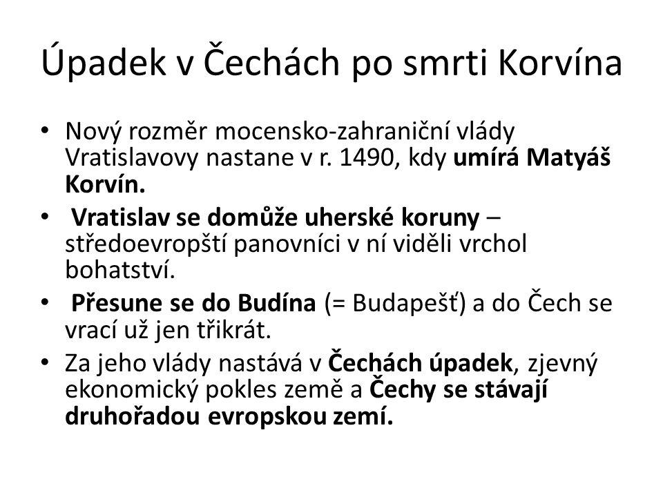 Úpadek v Čechách po smrti Korvína