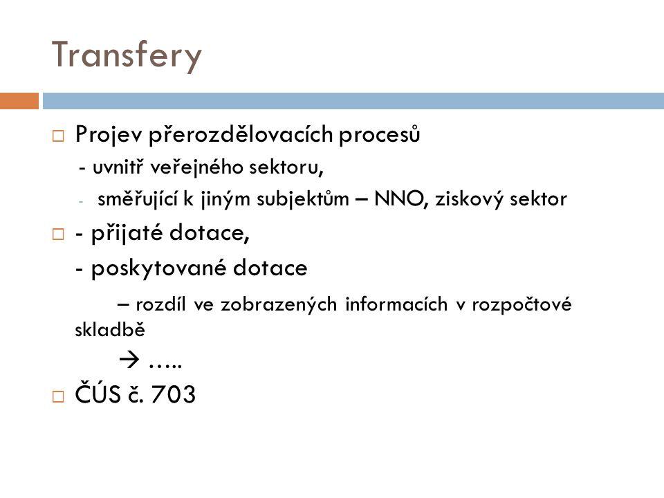 Transfery Projev přerozdělovacích procesů - přijaté dotace,