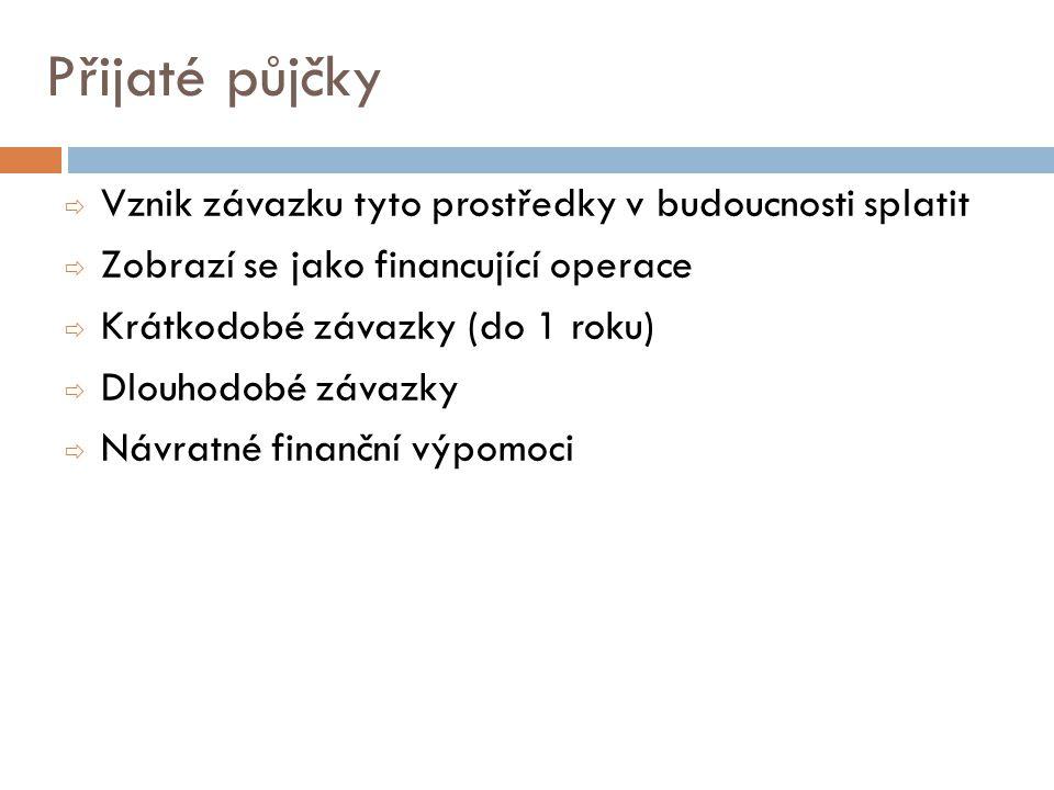 Přijaté půjčky Vznik závazku tyto prostředky v budoucnosti splatit