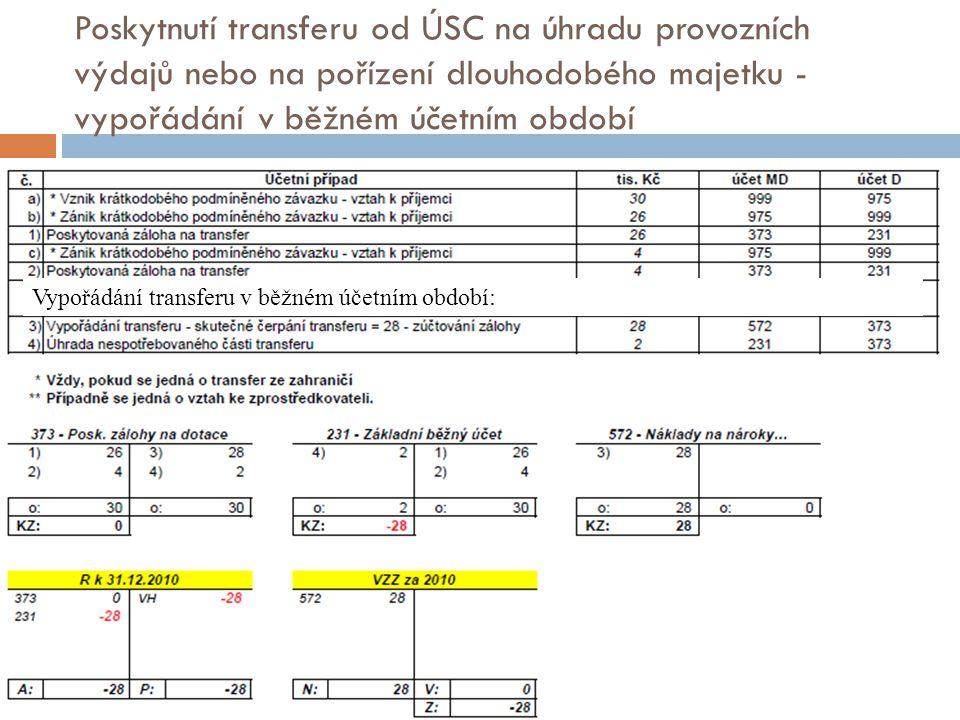 Poskytnutí transferu od ÚSC na úhradu provozních výdajů nebo na pořízení dlouhodobého majetku - vypořádání v běžném účetním období