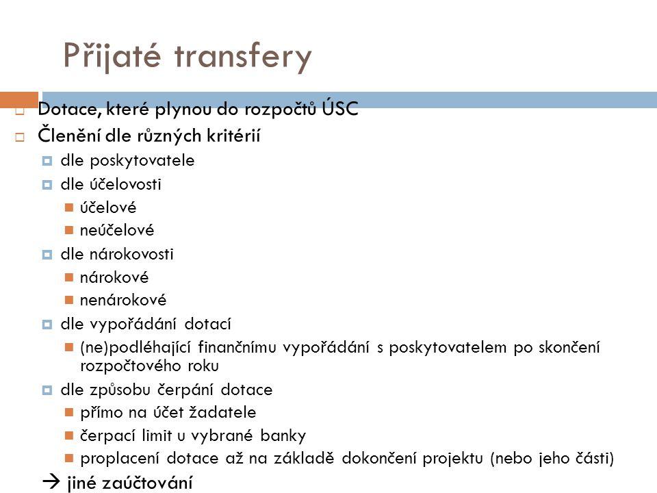 Přijaté transfery Dotace, které plynou do rozpočtů ÚSC